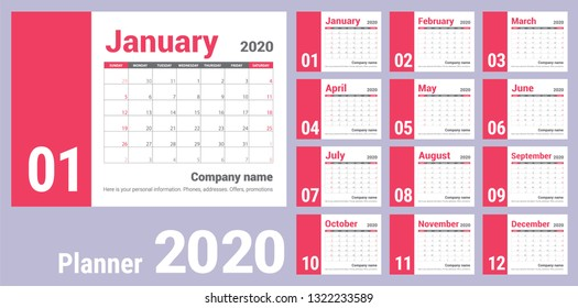 2020 calendar. English calender. Сolor vector template. Week starts on Sunday. Business planning. New year planner. Clean minimal table. Simple design