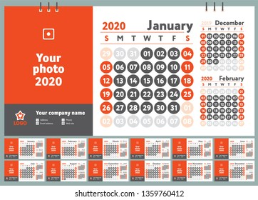 2020 calendar. English wall calender. Color vector template. Week starts on Sunday. Business planning. New year planner. Design