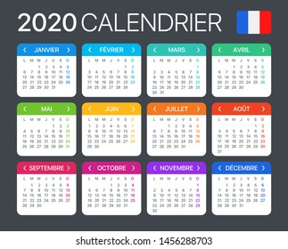 2020 calendar - French version - Vector Template