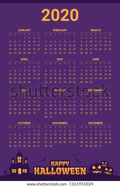 Halloween 2020 Calendar 2020 Calendar Halloween Theme Stock Vector (Royalty Free) 1161955024