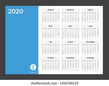 2020 Calendar - illustration. Template. Mock up Week starts Sunday
