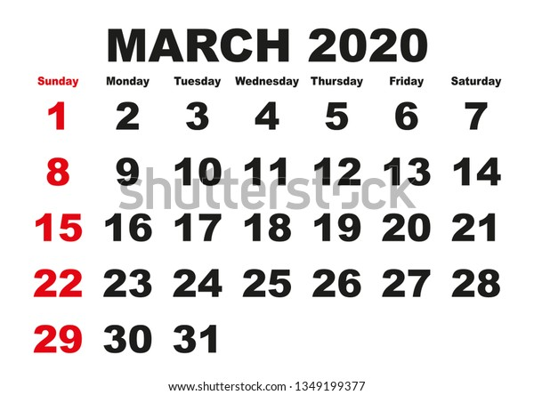 printable monthly calendar march 2020