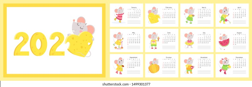 2020 calendar with mice flat vector templates set. Cute little rats cartoon characters. New year wall calender vertical pages with little rats designs pack. Children planner, scheduler paper sheets