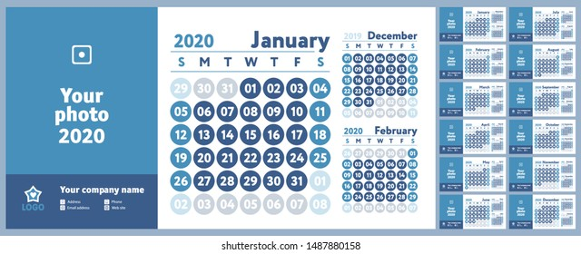 2020 calendar. New year planner design. English calender. Blue color vector template. Week starts on Sunday. Business planning.