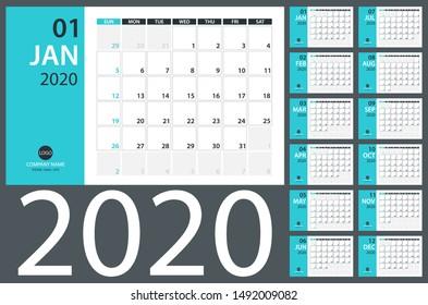 2020 Calendar Planner - vector illustration. Template. Mock up.