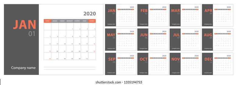 2020 calendar planning. English planner. Сolor vector template. Week starts on Sunday