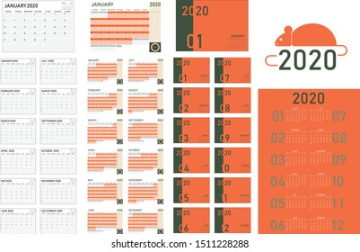 2020 calendar template planner collection with guideline, Include year, month, week view and to-do-list with