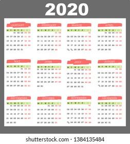 2020 calendar template  planner vector design