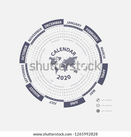 2020 Calendar Template Calendar 2020 Set 12 Stock Vector (Royalty