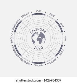 2020 Calendar Template.Circle calendar template.Calendar 2020 Set of 12 Months.Starts from Sunday.Yearly calendar vector design stationery template.Vector illustration.