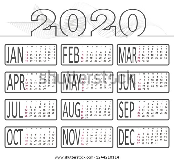 2020 Annual Calendar.2020 Calendar Vector Annual Calendar Layout Stock Vector Royalty