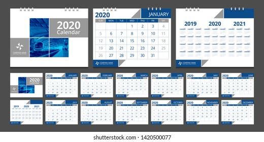 2020 calendar. Week start Sunday corporate design template vector.