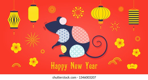 2020 Chinese New Year greeting card with rat silhouette, fireworks, lanterns, flowers, text. Isolated objects. Vector illustration. Flat style design. Concept for holiday banner, decor element.