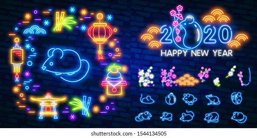 2020 Chinese New Year neon sign, bright signboard, light banner. Chinese logo neon, emblem. 2020 Chinese. Vector illustration