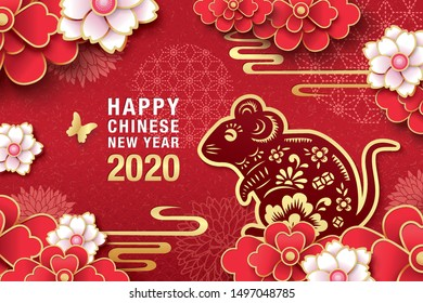 2020 Chinese New Year, Year of Rat Vector Design.