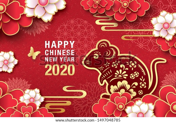 2020 Chinese New Year Year Rat Stock Vector Royalty Free 1497048785