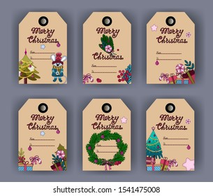 2020 Christmas craft tags. Merry Christmas greetings cards with lollipop, wreath, tree, twigs, decorations.
