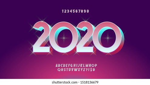 2020 christmas font 3D bold style modern typography for party poster, greeting card, invitation, flyer, motion, video, t shirt, logo, book, animation, holiday banner, printing. Vector 10 eps