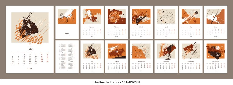 2020 сalendar design. Set of 12 months. 2020, 2021 year. Vertical calender. Week starts on Monday. Concept, vector editable calendar page template. Vector abstract artistic illustration.