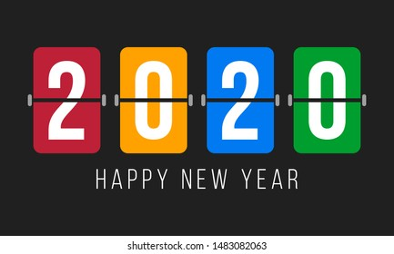 2020 digits over colorful flip boards and text happy new year, greetings poster or card with dark background, vector illustration
