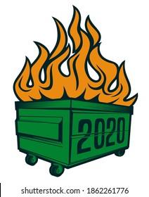 2020 dumpster fire with wheel t-shirt design template print on demand