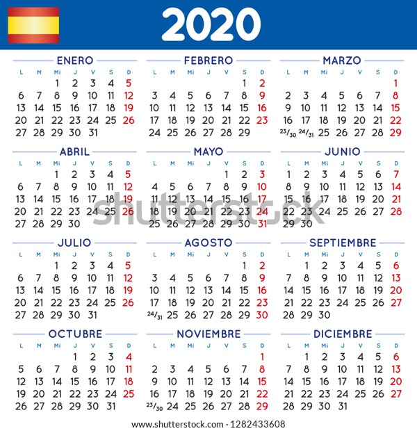 Calendario 2020 Vector Gratis.2020 Elegant Squared Calendar Spanish Year Stock Vector