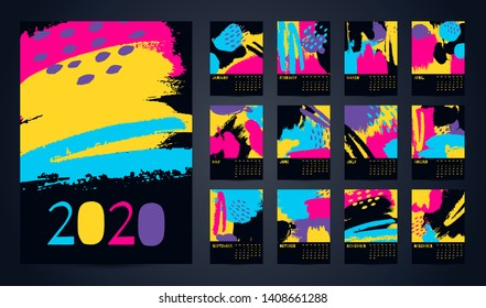 2020 English Calendar Abstract Vector Hand Draw. Set of 12 Months, Week starts Sunday. Multi-colored brush strokes on black background. Poster calendar flyer layout printing media, brochure A3, A4, A5