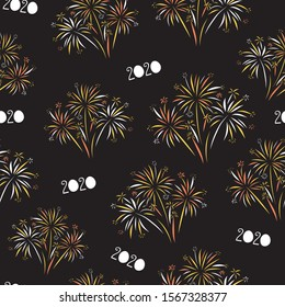 2020 Fireworks Happy New Year seamless vector background. Repeating pattern for New Years Eve. Festive design on black background for invitation, cards, poster, banner, party invite