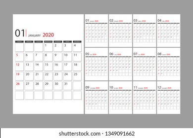 The 2020 flip calendar template. The day of the week starts on Sunday.