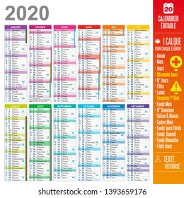 2020 french calendar easy to customize - One layer for each element