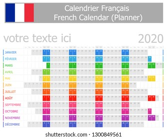 2020 French Planner Calendar with Horizontal Months on white background