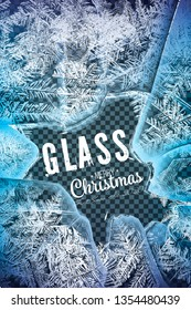 2020 Frost glass pattern. Winter frame on transparent background. Vector 2020 christmas illustration. Vector transparent blue frost window. Eps8. RGB. Global colors