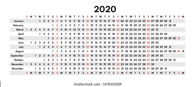 2020 full year calendar, monthly rows, sunday first, vector template for print