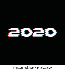 2020 glitch effect text for new year