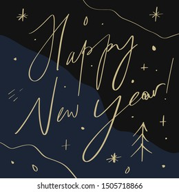 2020 Glossy Shine Christmas Lettering Concept Design Happy New Year, Xmas holidays Hand Chill Party Modern Abstract Shapes Written Lettering Decor Elements Golden Stars Isolated On Dark Background