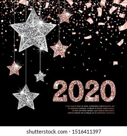 2020 Glowing Banner with Numbers and Hanging Rose Gold and Silver Stars on black Background with falling confetti. Vector illustration. All isolated and layered