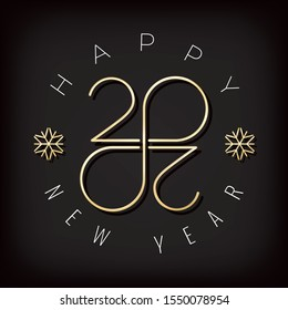 2020 Gold Numerals Logo Authentic Sign with Zeroes Making Mobius Loop Impossible Figure and Happy New Year Greetings Lettering - Golden on Black Background - Vector Gradient Graphic Design