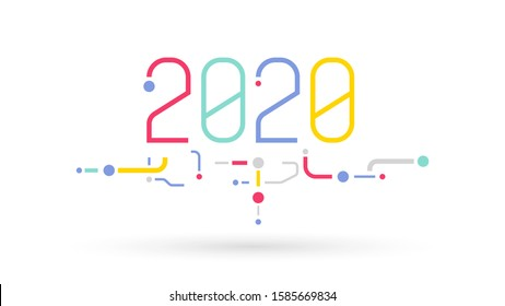 2020 graphic text number calendar technology logo icon background
