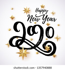 2020 hand written lettering with golden Christmas stars on a white background. Happy New Year card design. Vector illustration EPS 10 file.