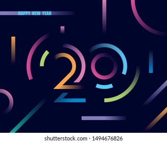 2020 happy new year abstract card design with gradient