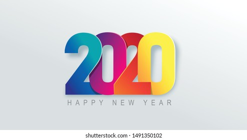 2020 Happy New Year background. 2020 Number paper art Text Design.Vector holiday illustration.