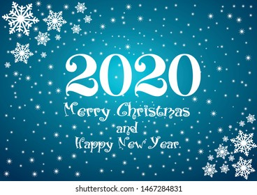 2020 Happy New Year blue background with white stars and snowflakes and text for your Seasonal Flyers and Greetings Card or Christmas.