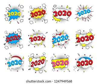 2020 happy new year christmas comic pop art speech bubble set vector illustration. Colorful pop art style sound effect. Halftone, vintage comic sound effects isolated on white background.