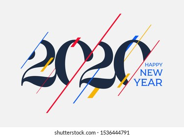 2020 Happy new year design template. Logo Design for calendar, greeting cards or print. Vector illustration. Isolated on white background.