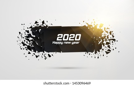 2020 Happy New Year. Geometric banners.Abstract explosion of black glass. Square and circle destruction shapes. Vector illustration.