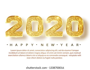 2020 Happy new year. Gold Numbers Design of greeting card. Gold Shining Pattern. Happy New Year Banner with 2020 Numbers on Bright Background. Vector illustration