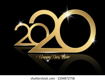 2020 Happy New Year with gold texture, modern Background, vector isolated or black background, elements for calendar and greetings card or Christmas themed luxury golden invitations