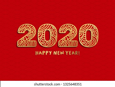 2020 happy new year golden laser cut lettering. Chinese pig zodiac with ornate numbers on red wavy background. Is