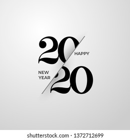 2020 Happy New Year greeting card. Logo numbers black 2020 and text on light background. Vector Illustration. Isolated on white background.