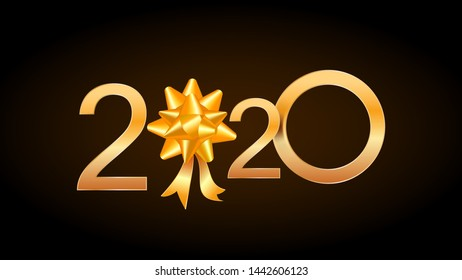 2020 Happy New Year greeting card with shiny golden numbers and ribbon gift bow isolated on black background. Design element for christmas holiday banner, poster, invitation template